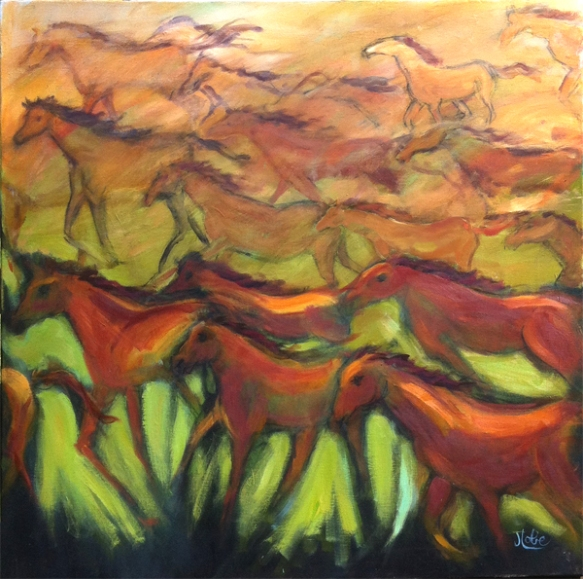 Spirit of the Wild Horses, Acrylic on linen, 30X30, $675.