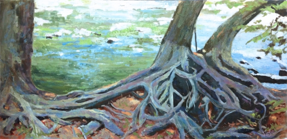Along the Eno River, painting by Jude Lobe.