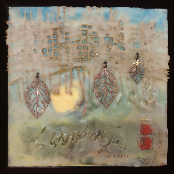 IT MAY BE RAINING; BUT THE SUN STILL SHINES, Encaustic Painting, 8X8, by Jude Lobe. $245