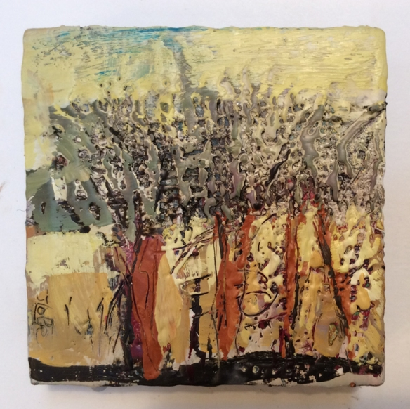 My Queendom for a Tree. encaustic painting, 6X6, by Jude Lobe. $140
